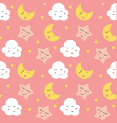 cute clouds star and moons seamless patter vector image