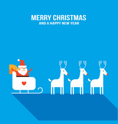 cute santa claus with presents sledge and deers vector image