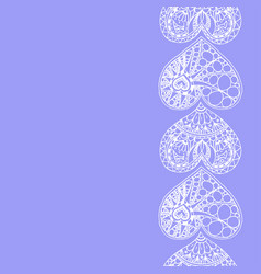 Decorative vertical border from doodle heart vector