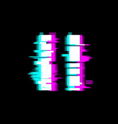 Distorted glitch style pause media video file or vector