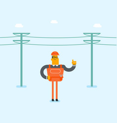 Electrician repairing an electric power pole vector