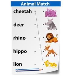 English animal matching worksheet vector