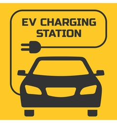 EV Charging Station signboard on a yellow backgrou vector image
