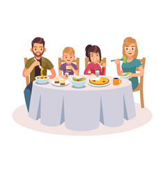 Family eating table happy people eat food dinner vector