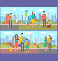 Family having fun day in park autumn season set vector
