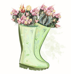 Fashion spring with green rubber boots cactus vector