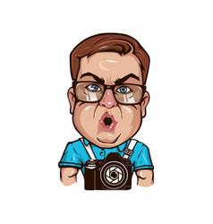 fat funny photographer character vector image