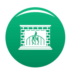 Fireplace icon green vector