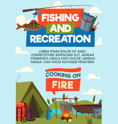 Fishing and recreaton cartoon poster vector