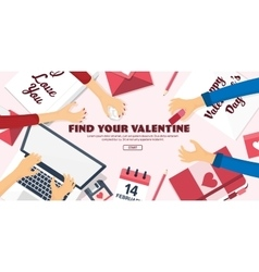 Flat background with paper envelope Love hearts vector