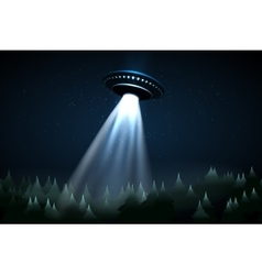 Flying UFO over night forest vector image