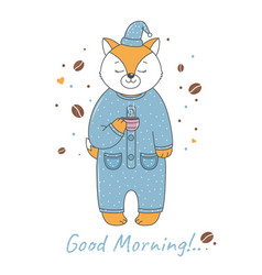 Fox in pajamas vector