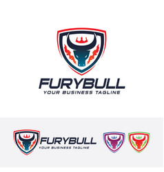 Fury bull logo design vector