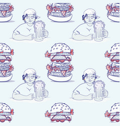 Girl with beer and huge hamburger seamless pattern vector