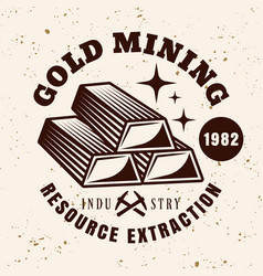 gold ingots emblem for mining company vector image