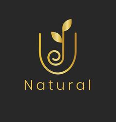 Gold leaf spa logo template classy nature design vector
