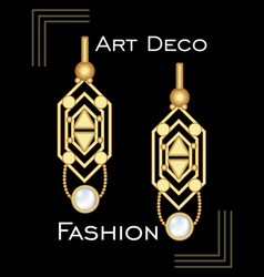 Golden earrings in art deco style with pearl vector