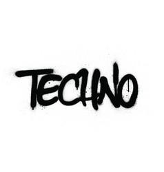 graffiti techno word sprayed in black over white vector image