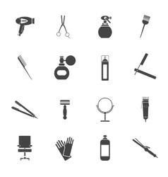 Hairdresser icon set black vector