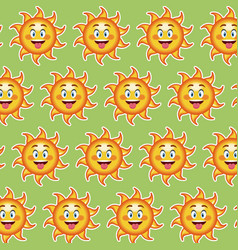 Happy funny sun tongue out wallpaper pattern vector