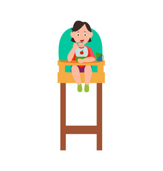 infant child eating from bowl in baby chair vector image