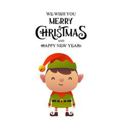 little cute cartoon elf on white background vector image