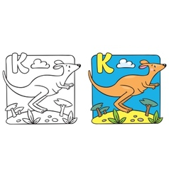 Little kangaroo coloring book Alphabet K vector