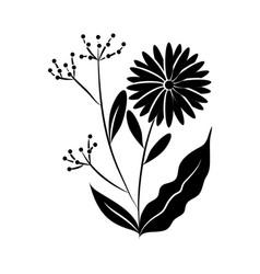 minimalist tattoo flower fruits botancial vector image