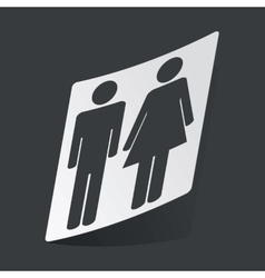 Monochrome man and woman sticker vector image