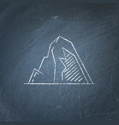 Mountain with ledges icon on chalkboard vector