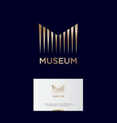 Museum logo gold monogram linear elements column vector