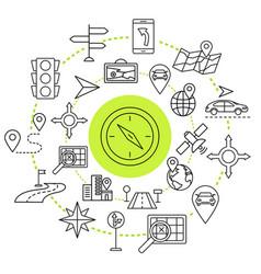navigation outline web icons set vector image