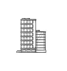 Office buildings hand drawn outline doodle icon vector
