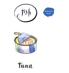 Opened preserve tuna vector