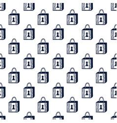 padlock seamless pattern black and white vector image