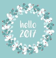 Pastel laurel wreath hello New Year 2017 vector