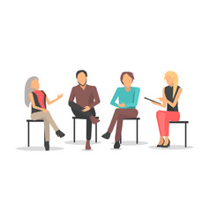 people at business training sit and discuss issues vector image