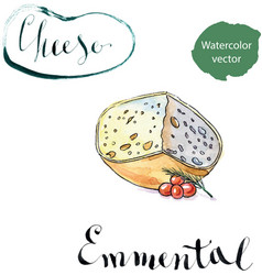 Piece of emmental cheese head with cherry tomato vector