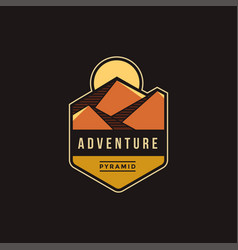 pyramid dessert adventure explore park logo vector image