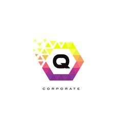 q colorful hexagon shaped letter logo design vector image