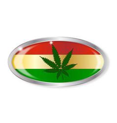 rastafarian flag oval button vector image