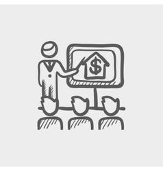 Real estate agent seminar sketch icon vector