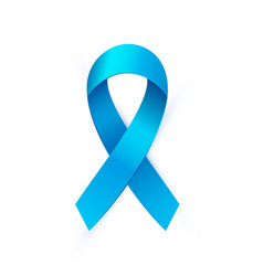realistic blue ribbon to prostate cancer awareness vector image