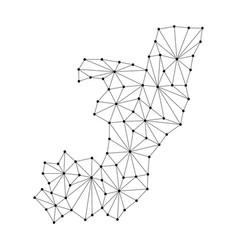 Republic of congo map of polygonal mosaic lines vector