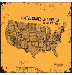 Retro distressed insignia with US map vector