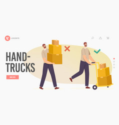 Right and wrong manual handling heavy goods vector