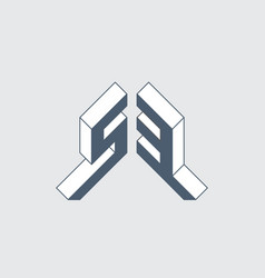 S3 - monogram or logotype isometric 3d font vector