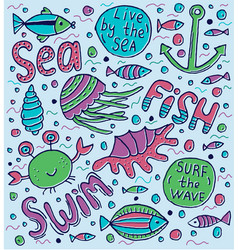 sea lettering vector image