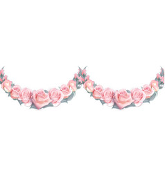 Seamless garlands of pink roses isolated on a vector