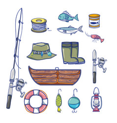 set fishing recreation with special tools vector image